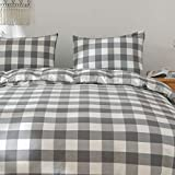 Eforcurtain 100% Cotton Yarn Dyed Buffalo Check Duvet Cover Set Grey and White, Gingham Plaid Bedding Set Queen Size 90x90 inches (1 Duvet Cover + 2 Pillow Shams)