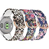 Krudary Silicone Watch Band Compatible with Garmin Vivoactive 4S 40mm / Venu 2S / Vivomove 3S, 18mm Soft Fadeless Pattern Printed Floral Bracelet Strap for Fossil Gen 5E 42mm / Gen 4 Q Venture HR