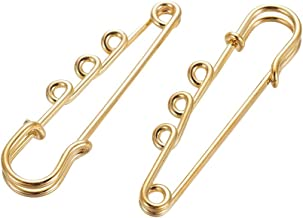 LiQunSweet 10 Pcs Iron 3-Holes Golden Plated Safety Skirt Kilt Pins Brooch Findings for Clothing Lapel Scarf Costume Jewel...