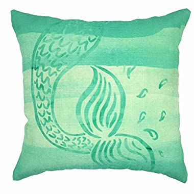YOUR SMILE Mermaid Cotton Linen Decorative Throw Pillow Case Cushion Cover Pillowcase for Sofa 18 x 18 Inch
