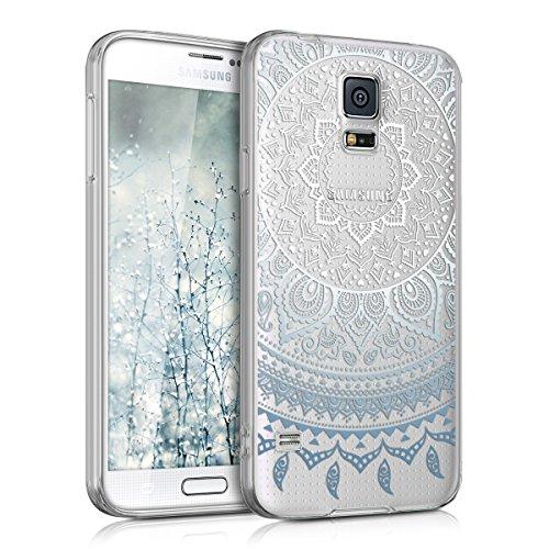 kwmobile Hülle kompatibel mit Samsung Galaxy S5 / S5 Neo - Handyhülle - Handy Case Indische Sonne Blau Weiß Transparent