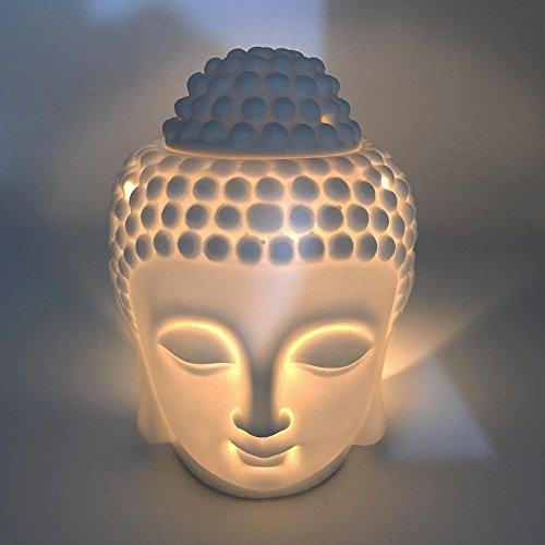 Mayco Bell - Bruciatore per aromaterapia, in ceramica, con testa di Buddha, aroma, diffusore di oli essenziali, incenso indiano, Buddha tibetano, S (bianco)