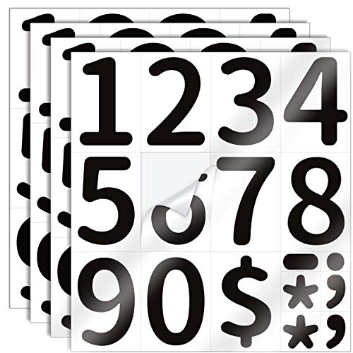 Black PVC Mailbox Number Stickers (0-9) High Contrast – 4 Pack 4 inch Self Adhesive - Waterproof Sticker for Mailbox, Signs, Door, Cars, Trucks, Home, Business, Address Number, Outdoor