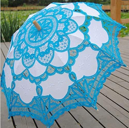 ZXL New Blue Lace Sonnenschirm Victorian Battenburg Sonnenschirm, Retro Regenschirme, Lace Sunshade, für Brautparty Hochzeitsdekoration