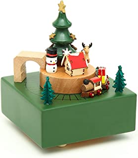 MISSYOUNG Wooden Music Box Wood Carved Mechanism Musical Box Wind Up Music Box with Moving Train DIY Wooden Music Box Best...
