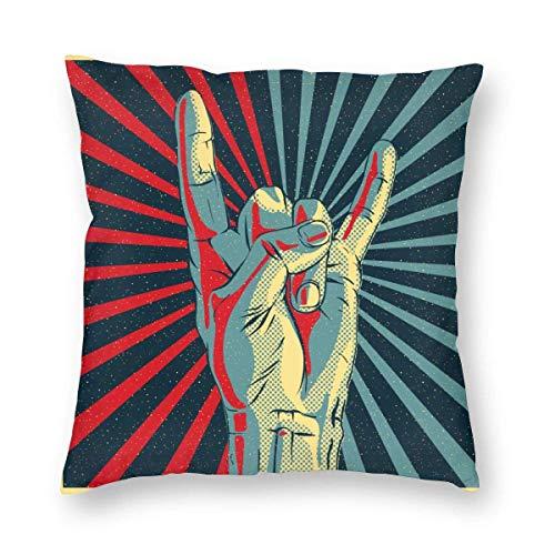 Funda de almohada impresa con diseño de dos lados, mano de música colorida en letrero de Rock N Roll, fiesta de cultura de metal pop, funda de almohada cuadrada pesada, funda de cojín para sofá, decor
