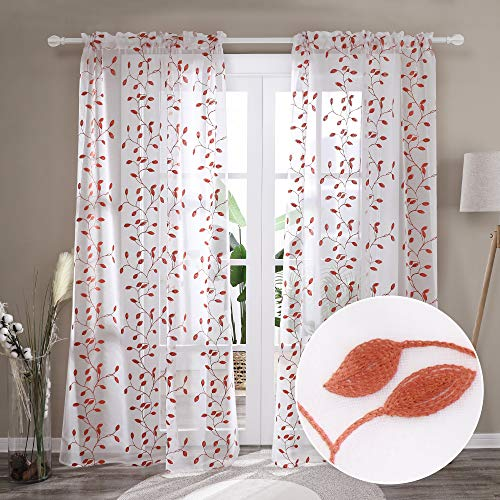 Deconovo Patterned Sheer Curtains 84 Inches Long Rod Pocket Floral Embroidered Sheer Curtains with Leaf Pattern Sheer Curtain Panels for Bedroom- 2 Panels, Each 52x84 in, Orange