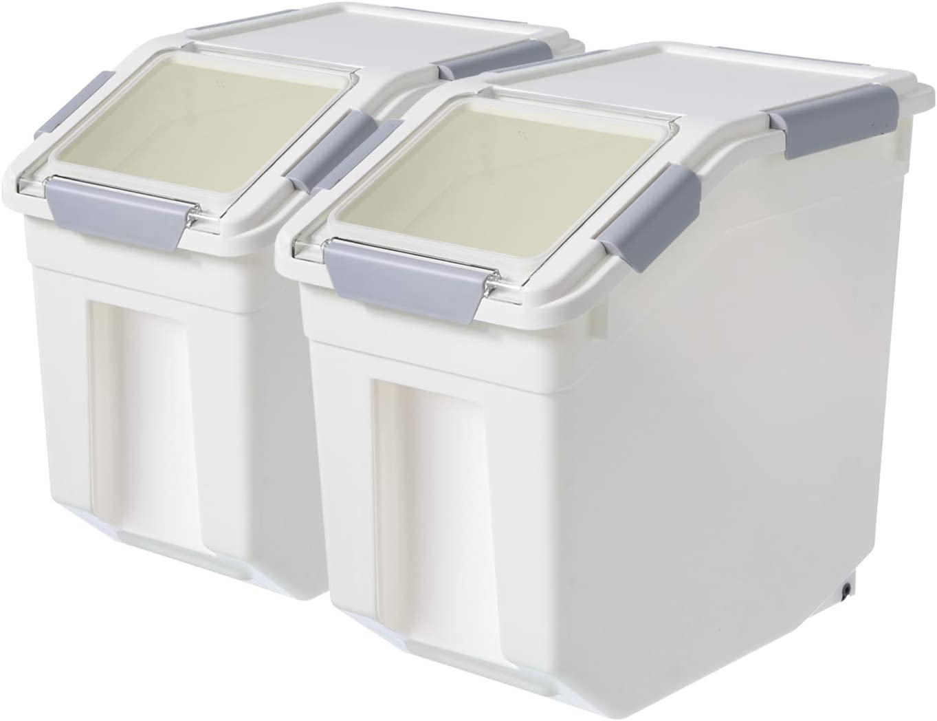 2 Pack Flip Top Pantry Storage With Scoop,Airtight Rice Bin Storage,Dry Food,Sugar, Baking Supplies,Pet Food Storage Container,Flour,Dog Cat Birds Food Bin,BPA Free (25LB)