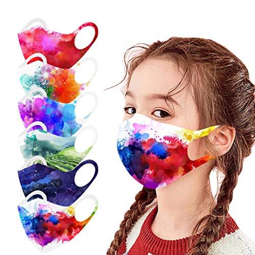 Covermason 12 Pezzi Bambino Tessuto Bocca Ice silk - Stampa Aquarelle - Lavabili Riutilizzabili Antipolvere Visiera Viso Adatto per Bambino