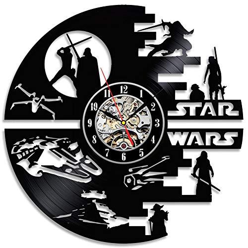 LittleNUM Orologio da Parete del Disco in Vinile, Creative Star Wars Wars Silent Wall Clock, SW Series Pattern, Il miglior Regalo per Gli Amici,with LED Light