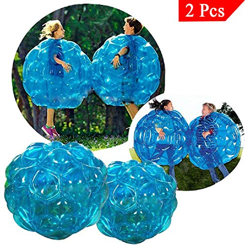 Youth Union Aufblasbare Bubble Ball Bubble Soccer für Kinder PVC Zorb Bumper Fußball Zorbing Kugel Knockerball Transparent (60 cm, 2 pcs Blau)