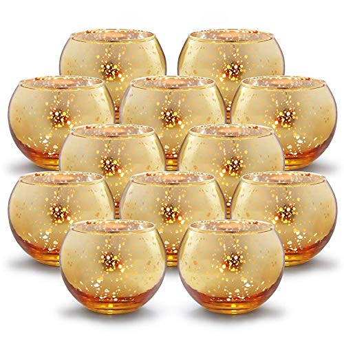 XLYS Teelichthalter -Votivkerzenhalter Glas, 12 Stück Quecksilber-Glas, Kerzenhalter für Hochzeits Dekoration Partys und Heim Dekoration, Gold