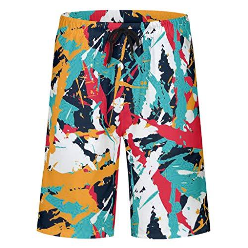Hawaii Zwembroek voor heren, vrijetijdsbroek, zomer, vakantie, sneldrogend, zwembroek, zwempak, zwemshorts met elastisch trekkoord, zakken, zonder mesh-voering
