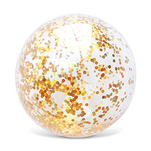 AMOR 16 inch Inflatable Beach Ball Swimming Pool Balls Glitter Beach Ball for Summer Parties Birthday Pool Party Favors