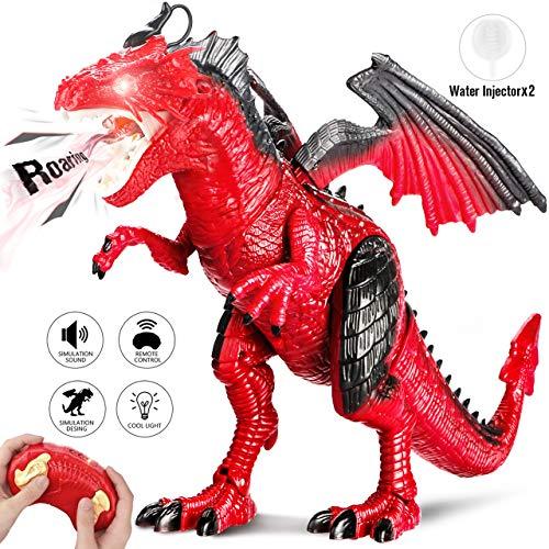 joylink Dinosaurier Spielzeug, Fernbedienung Dinosaurier Spielzeug mit Gehen, simuliertem Brüllen, Sprühen, Kopfschütteln (Rot)