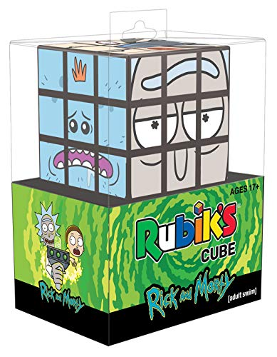 USAOPOLY Rick and Morty Rubik's Cube | Collectible Puzzle Cube Featuring Characters - Rick, Morty, Pickle Rick, Squanchy, Birdperson, and Mr. Meeseeks | Officially Licensed 3x3x3 Rubiks Cube