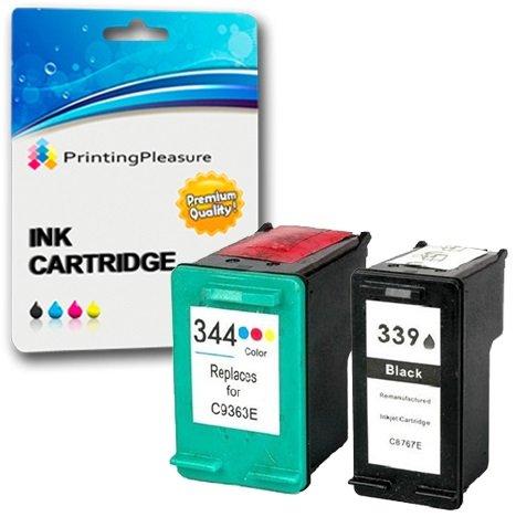 Printing Pleasure 2 Compatibles HP 339 & HP 344 Cartuchos de tinta para DeskJet 5740 5745 5940 6540 6620 6840 9800 Photosmart 2570 2575 2605 2610 2710 8050 8150 8450 8750 - Negro/Color, Alta Capacidad