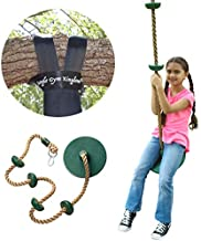Jungle Gym Kingdom Tree Swing Climbing Rope with Platforms Green Disc Swings Seat - Outdoor Playground Set Accessories Tree House Flying Saucer Outside Toys - Snap Hook and 4 Feet Strap