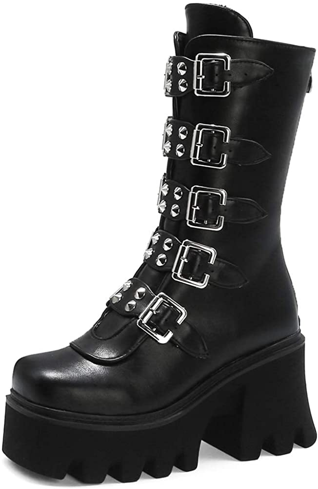 MeiLuSi Goth Platform Boots for Women Multi Band Chunky Heels Combat Mid Calf Boots