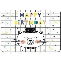 バスマット 玄関マット 足ふきマット,お誕生日おめでとうカードかわいい猫の紙吹雪,滑り止め ソフトタッチ 丸洗い 洗濯 台所 脱衣場 キッチン 玄関やわらかマット 40 x 60cm