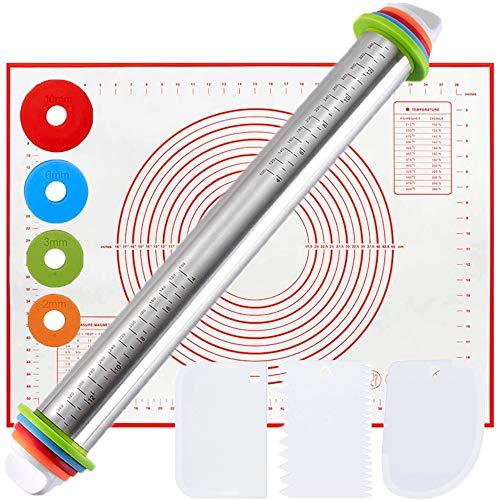 Counicorn, Mattarello antiaderente in acciaio inox con anelli di guida per lo spessore removibili, tappetino in silicone per dolci, con 3 raschietti per impasto