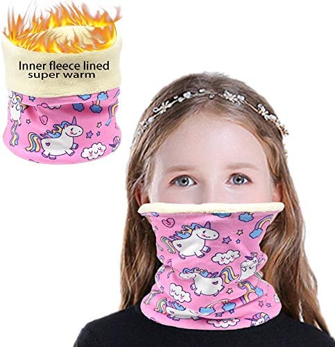 Winter Kids Neck Gaiter Warmer Face Cover Mask Thermal Fleece Neck Warmer Face Scarf Unicorn product image