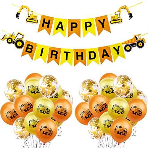 U&X Geburtstag Banner Traktor Happy Birthday Girlande Bunting Bagger Party Dekoration Bulldozer Truck und 15 Luftballons Kindergeburtstag Baustelle Party für Farm Party und Geburtstag