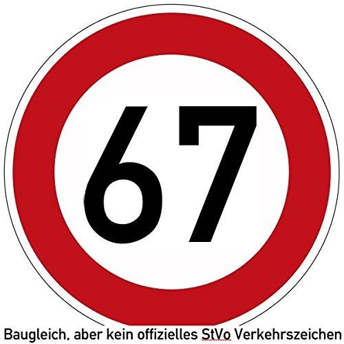 60-69 (km/h) Verkehrszeichen als Geburtstagsschild 60 cm Durchmesser, Aluminium Reflektierend (67)
