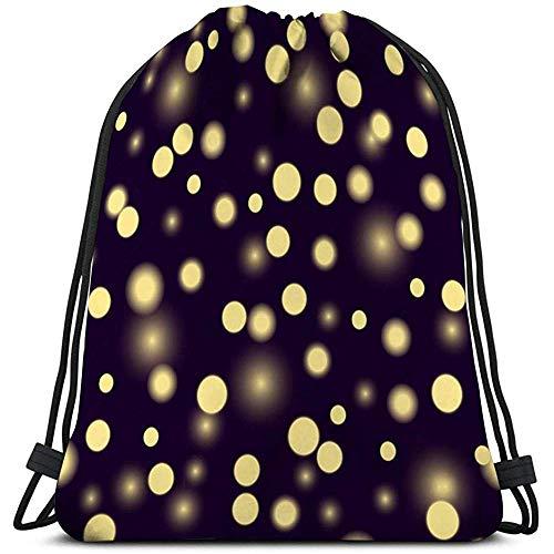 BOUIA Gym Sport Drawstring Bag Pattern Flickers Lights Yellow Vintage