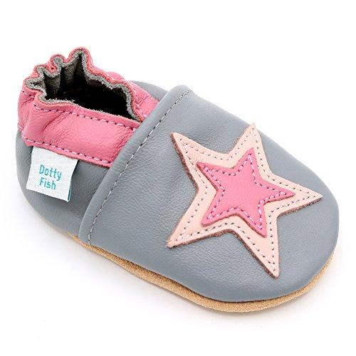 Dotty Fish Chaussures en Cuir Souple pour bébés et Tout-Petits. Semelle Souple antidérapante. Étoile Grise et Rose. 12-18 Mois (21 EU)