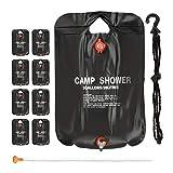 Relaxdays 9 x Campingdusche 20 l im Set, Solardusche Camping, zum Aufhängen, faltbar, mit Handbrause, Mobile Außendusche, schwarz