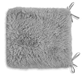 Teddy Fleece Chair Pads SOFT & SNUG Fur With Reversible Plain Sherpa Teddy Fleece Seat pads REMOVABLE Dining Garden Chair Cushion Luxury Super Soft Fluffy Fur Seat Pads With Ties Backs (Silver, 6)