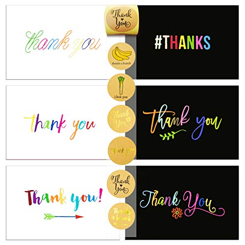 72 Thank You Card and Envelope Sets with 84 Envelope Sealer Stickers Assortment, Flat Notes Greeting Cards, Blank Card, 12 Designs, 4 x 6 Inches (36 Black and 36 White)