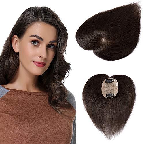 Clip in Extensions Echthaar Toupet für Frauen 100% Human Hair Natürlich Weich Haarteil mit 6 * 9cm Seide Basis 15cm-15g 02# Dunkelbraun