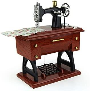 RJ Home Music Box Wood Gift Birthday Gift Handmade Music Box Jigsaw Carousel Music Box Sewing Machine Music Box (Size : L)
