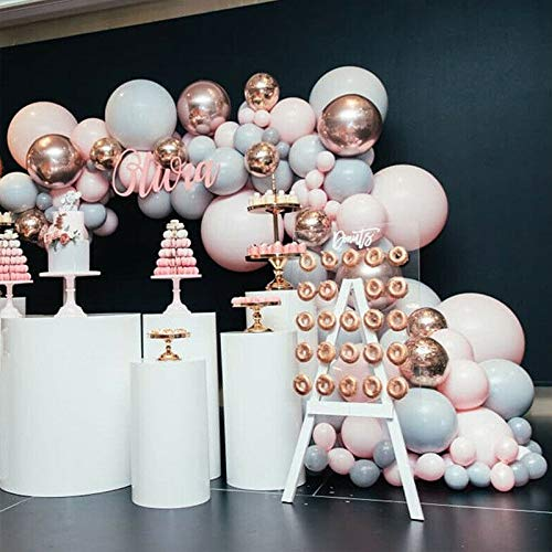 LemonBest Balloon Arch Kit, 167 Pcs Helium Grey Pink Latex Party Balloon & 4D Aluminum Film Rose Gold Balloon Garland Kit, for Birthday, Engagement, Wedding, Baby Shower, Party Decorations