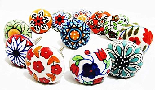 Juego de 12 pomos hechos a mano de cerámica con diseño variado, pintados a mano, tiradores de cajones ideales para cualquier hogar, cocina u oficina | estos pomos de cajón vienen