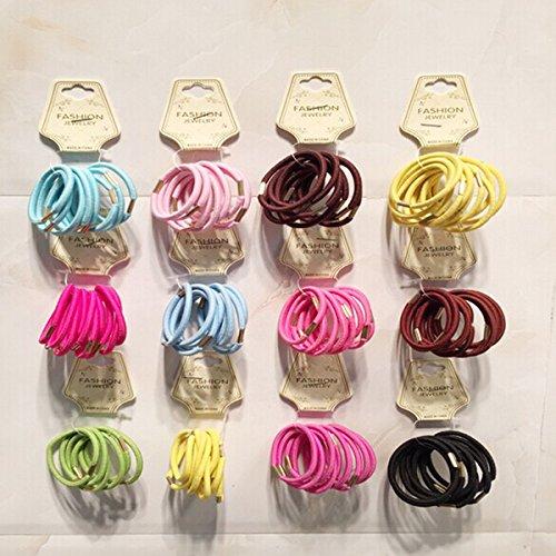 LEORX assorties bandes élastiques en caoutchouc élastique corde de queue de cheval de cheveux Styling Accessoires -50pcs