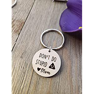 Don't Do Stupid Shit Keychain, Poop Emoji, Love Mom, Son, Daughter Gift, Christmas, Birthday, Wood