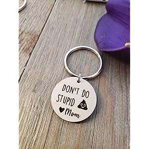 Don't Do Stupid Shit Keychain, Poop Emoji, Love Mom, Son, Daughter Gift, Christmas, Birthday, Wood