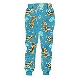 Hip Hop Mens Pantaloni 3D Tiger Foglie Stampa Casual Sciolto Pantaloni della Tuta Divertente Unisex Pantaloni Maschile Streetwear Abbigliamento Tigre 34-37
