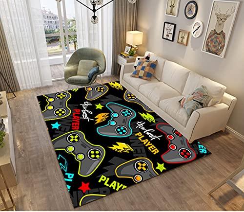 Alfombra de Dormitorio 3D Gamer Joystick Alfombras de Sala de Estar Antideslizantes Graffiti Letter Game Console Decoración Alfombras Franela Rugs Para Adolescentes Kid (Color A,100x150 cm)