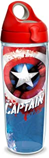 Tervis 1250049 Marvel - Captain America Tumbler with Wrap and Red with Gray Lid 24oz Water Bottle, Clear