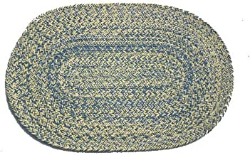 product image for Oval Braided Rug (2'x3'): Williamsburg Blue, Yellow & Cream - Solid