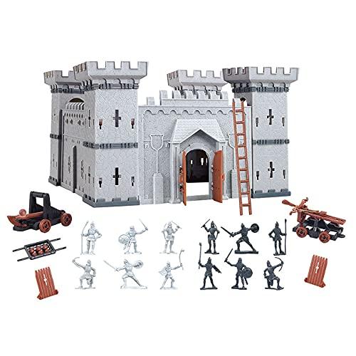 Castillo de caballero con figuras de juguete, reino castillo, DIY, 28 x 28 x 29 cm