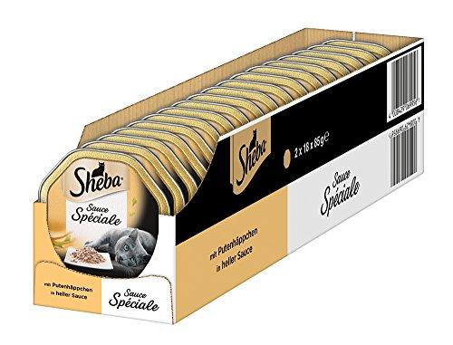 Sheba Katzenfutter Sauce Spéciale für ausgewachsene Katzen - hochwertiges Nassfutter für Katzen / Putenhäppchen in heller Sauce / 36 Schalen (36 x 85 g)