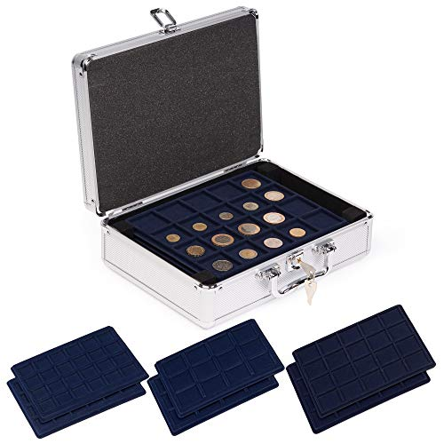 Aluminium Koffer Münzen Aufbewahrung Zubehör Münz Kapseln für Münzen mit unterschiedlichem Durchmesser - mit verschiedenen Einschüben ideal für Münzen Münzsammlung