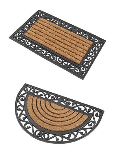 2 Premium Fußmatten (1 halbrund, 1 rechteckig) aus Gummi und Kokosfasern 76 x 46 cm ✓ Rutschfest, dank 3,5 kg Fußabtreter ✓ Robuste & repräsentative Schmutzfangmatten, Sauberlaufmatten, Schmutzmatten