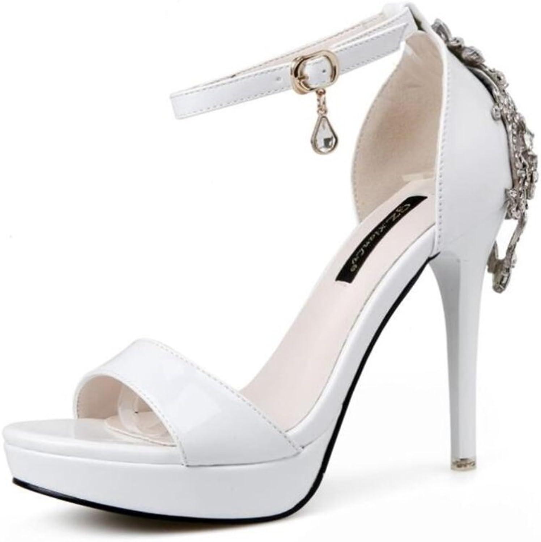 LINYI Womens Super High Heels One Word Stiletto Sandals Summer Waterproof Platform Open Toe Artificial Rhinestone