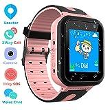 Impermeable Smartwatch para Niños, Reloj inteligente Phone con LBS Tracker SOS Chat de voz Cámara Despertador Podómetro Juego Cálculo para Regalos Estudiantes Compatible con iOS Android, Rosa